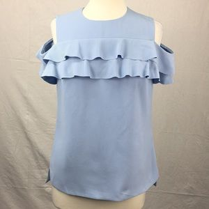 Ted Baker Blue Hopee Frill Cold Shoulder Blouse